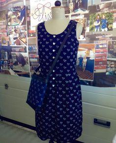 Dilians handprinted Indigo Summer dress with a Dilians Crossbodybag with the same handprinted pattern. Folklore, Indigo, Cold Shoulder Dress, Summer Dresses, Modern, Pattern, Fashion, Hand Crafts, Printing