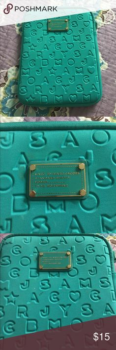Marc By Marc Jacobs IPad case Turquoise .gold hardware. A few stains on front. Used. Faux fur inside. A little rust on zipper. Marc By Marc Jacobs Accessories Tablet Cases