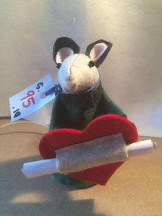 Grey valentine messenger mouse