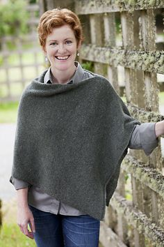 """Easy Folded Poncho """"It's like a really elegant sweatshirt."""" Our favorite poncho transcends the trends. It's easy to knit (just one long stockinette rectangle), easy to finish, and easy to throw on. Poncho Knitting Patterns, Knitted Poncho, Knitted Shawls, Knit Patterns, Knitting Yarn, Free Knitting, Rowan Felted Tweed, Bolero, How To Purl Knit"""