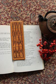 Beautiful Leather Bookmark Hand Burned Pyrography by ZococoSalon