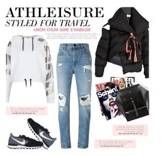 """""""How to Style a Black Puffy Jacket with Ripped Jeans for Travel"""" by outfitsfortravel ❤ liked on Polyvore featuring Marques'Almeida, Ivy Park, Alexander Wang and NIKE"""