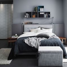 This is a Bedroom Interior Design Ideas. House is a private bedroom and is usually hidden from our guests. Much of our bedroom … Modern Grey Bedroom, Bedroom Black, Monochrome Bedroom, Bedroom Green, Double Bedroom, Ikea Interior, Interior Design, Ikea Bedroom, Bedroom Ideas