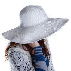 White Wide Brim Summer Beach Hat Straw Sun Hat for Women $7.92