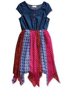 Sweet Heart Rose Woven Fashion Dress, Little Girls (2-6X)
