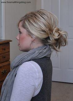 Messy Ponytail Bun plus link to Curling Hair Tutorial