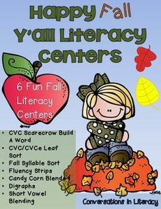 It's fall and time for lots of fun fall center activities to help your students with cvc & cvce words, syllables, blends and digraphs, fluency and blending sounds into words!  This center pack has 6 center activities with recording sheets and answer keys for you.Contents:CVC Scarecrow Build A WordCVC/CVCe Leaf SortFall Syllable SortFluency StripsCandy Corn Blends &DigraphsShort Vowel BlendingThese centers are great for small group literacy center time and for RtI Reading Intervention ...