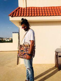Unique laptop bag / embroidered embellished bag / vintage leather genuine laptop bag / white fancy laptop bag / banjara bag/ embroidered messenger bags  #embellishedbag #tribalembroidered #quirkybag #fancylaptopbag #vintagebag Vintage Coat, Vintage Leather, Long Winter Coats, Embroidered Jacket, Messenger Bags, Festival Outfits, Laptop Bag, Etsy Vintage, Vintage Designs