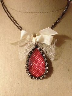 Red  and white  Polka dot   Chandelier crystal  by thehansenfamily, $34.00