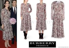 Rio 2016 Olympic Games - Crown Princess Mary wore BURBERRY PRORSUM Floral Silk-Georgette Dress www.newmyroyals.com