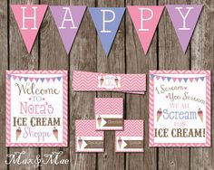 Ice Cream Social Decorations Ice Cream by MaxandMaeInvites on Etsy