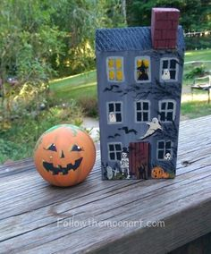 Happy Halloween Pumpkin Ball & Haunted House Set  Skeletons Wood Hand painted