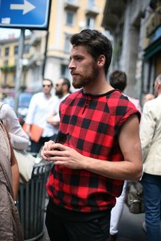 Street shot from Milan Men's Fashion Week Spring-Summer 2014.