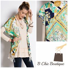 """Versace Style Print Kimono Beautiful Versace print kimono to style your jeans, pants or shorts. Lightweight complete with open front and a crochet tassel trim finish on the hem. Made of polyester. Length of kimono is 29""""   PRICE FIRM - NO TRADES Bchic Tops"""