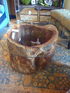 Natural Tree Stump Coffee Table Designs You Can Make Yourself - Live Edge Furniture, Tree Furniture, Rustic Furniture, Tree Stump Coffee Table, Tree Trunk Table, Articles En Bois, Wood Table Design, Table Designs, Natural Wood Table