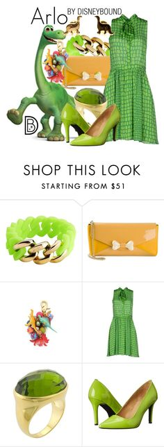 """Arlo"" by leslieakay ❤ liked on Polyvore featuring The Rubz, Moschino Cheap & Chic, Lenora Dame, Massimo Matteo, disney, disneybound, pixar, disneycharacter and thegooddinosaur"