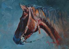 Horse Portrait by Jim Clements Oil ~ 5 x 7