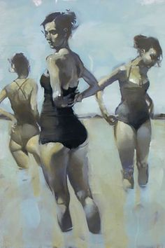 Michael Carson (b. 1972), oil on canvas {figurative females décolletage women swimsuit posterior back painting cropped detail} <3 Trio !!