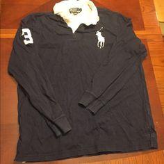Men's Ralph Lauren collared shirt- blue Men's Ralph Lauren Collared Shirt- Used- blue Ralph Lauren Tops