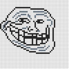 Troll Face Fuse Bead Perler Bead Pattern | Bead Sprites | Misc Fuse Bead Patterns