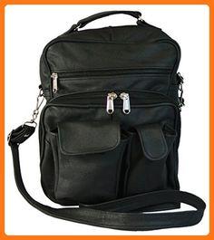 Womens Organizer Handbag Premium Leather Purse Lots of Pockets (Black) (*Partner Link)