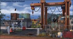 Whiskerman Wharf Container House starter home residential lot Lot THANKS to all the creators whose work I used to create the house: abandonedsims, ANBS, Around the.