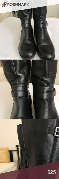 Unlisted Black Boots Sz 8 1/2 Unlisted Spare N Strike Black Boots with Buckle on top and at Ankle. Top has elastic for a snug fit and fits most legs. Has a side zipper. Like New Condition. Sz 8 1/2 Unlisted Shoes Winter & Rain Boots