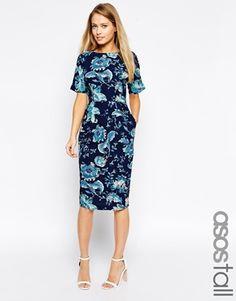 ASOS TALL – Schmales weiches Kleid mit Paisleymuster