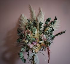 Boho pink and pampas wedding bouquet with eucalyptus available for postage worldwide. Our dry florals are perfect for elopements. Scottish Flowers, Second Weddings, Flower Farm, Elopements, Wedding Bouquets, Florals, Dandelion, Daisy, Boho
