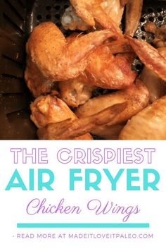 The Crispiest Air Fryer Chicken Wings Get the crispiest wings EVER using your air fryer. This recipe could not be simpler and can be customized ways to make it different every time. Chicken Wings Bbq, Frozen Chicken Wings, Lemon Pepper Chicken Wings, Chicken Wing Recipes, Keto Chicken, Chicken Meals, Ranch Dip, Cooking Whole Chicken, Stuffed Whole Chicken