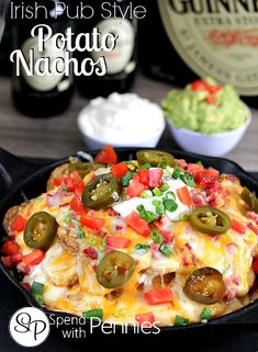 "Irish Pub Style Potato Nachos Love it?  Pin it to SAVE it! Follow Spend With Pennies on Pinterest for more great recipes! When we go to our local Irish Pub, we always get their delicious potato nachos!  They are like regular nachos but instead of tortilla chips, they use crispy fried potato slices!  SOOO good! In this recipe you can either bake or fry the potatoes to make them nice and crispy! Disclaimer:  I do realize that these are not ""Irish"".  {Read More}"