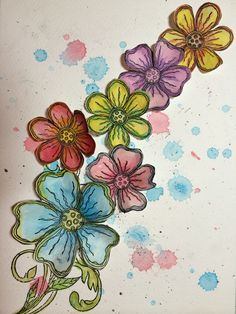 Cut out Lavinia Stamps Zen flowers over a lovely splatty backround (fun!)