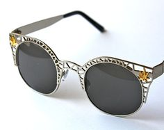 d813084ce148 Round Metal Cut out Sunglasses with weed leaf embellishments Stoner Style