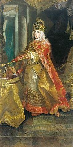 El emperador José I. con las vestimentas del imperio romano-alemán en sus  trajes de la coronación, coronado con la corona imperial, con la Santa  Corona ...