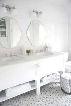Random penny tiles Transitional Bathroom by CCG Interiors LLC