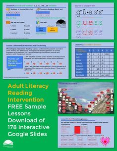 Check out the adult literacy reading intervention program that gets results. Download two FREE sample lessons of 178 Google slides. Response To Intervention, Reading Assessment, Reading Intervention, Teaching Reading Strategies, Reading Resources, Reading Comprehension, Phonics Books, Phonics Lessons, Vocabulary Instruction