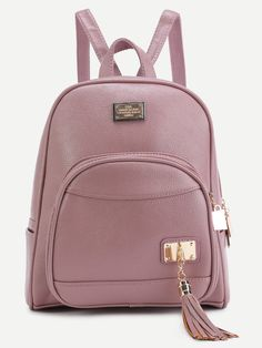 Online shopping for Pink PU Metallic Embellished Front Pocket Tassel Backpack from a great selection of women's fashion clothing & more at MakeMeChic. Mochila Kpop, Mochila Adidas, Fashion Bags, Fashion Backpack, Women's Fashion, Metallic Backpacks, Pink Backpacks, Cute Mini Backpacks, Mini Mochila