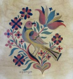 Bird with Tulip and Heart by David Y. Ellinger