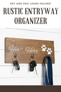 Key Hook, Dog Leash Holder, Dog Lovers, His and Hers, Entryway Organizer, Farmhouse Decor, Rustic Home Decor, Housewarming Gift for Couple #affiliate #organize #rusticdecor