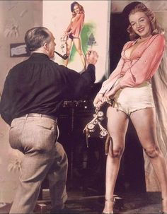 Marilyn posing for pin-up artist Earl Moran, c. 1946 (colourised)