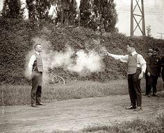 1923, the testing of a bulletproof vest