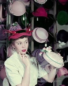 50's ... hats ... I remember wearing hats at Easter ... we all got new outfits every Easter: a dress, shoes, hat and gloves.