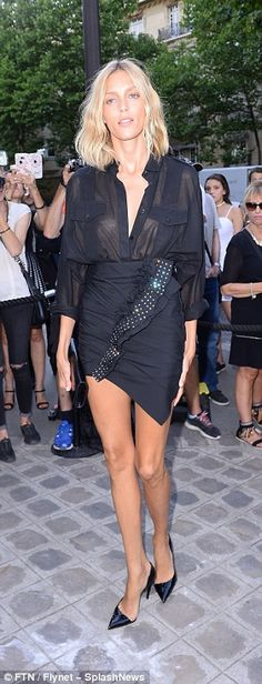 Simple: Lily Donaldson stunned in a chic jumpsuit while a braless Anja Rubik kept things s...