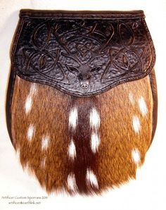 Axis Deer hide sporran with custom tooled Celtic Knot & Red Deer flap.