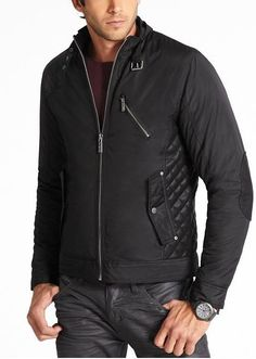 48562a497 NEW MENS GUESS DIAMOND STITCH TECHNO MOTO QUILTED FAUX LEATHER ZIPPER  JACKET S | eBay