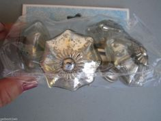 NEW Drawer Pulls Set of 4 Mercury Glass Silver Artistic Accents Knobs Knob