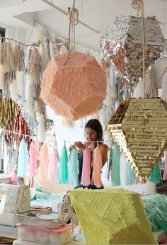 Waa! Modern pinatas - have to make one of these! Or just have them as big decorations? And I like the colours