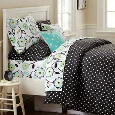 Black and White polka dotted bedding from PB teen... also have chairs, curtain rods, dress form, etc!  LOVE it for the McKenzie bedding!!!