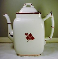 "Gorgeous Tea Leaf Ironstone Coffee Pot Alfred Meakin 1880's ""Bamboo Handles"""