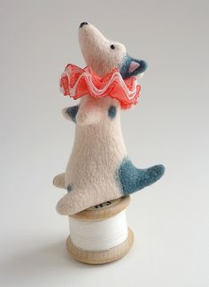 emmaedchen:        Santa  by Gretel Parker on Flickr.  Via Flickr: Three inch needle felt circus dog